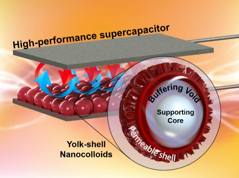 Self-supported yolk-shell nanocolloids towards high capacitance and excellent cycling performance