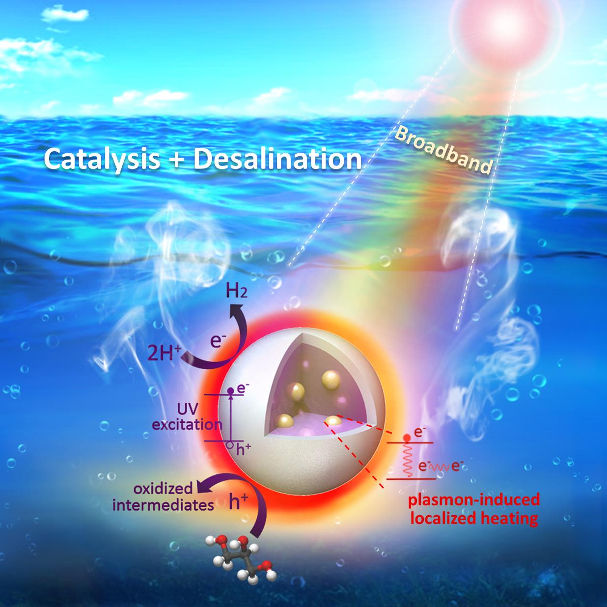 Plasmonic Photothermic Directed Broadband Sunlight Harnessing for Seawater Catalysis and Desalination