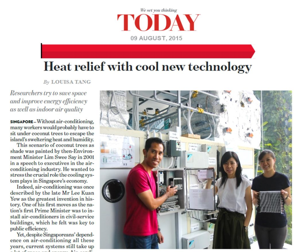Today Newspaper Heat Relief With Cool New Technology Ho Ghim Wei Research Group