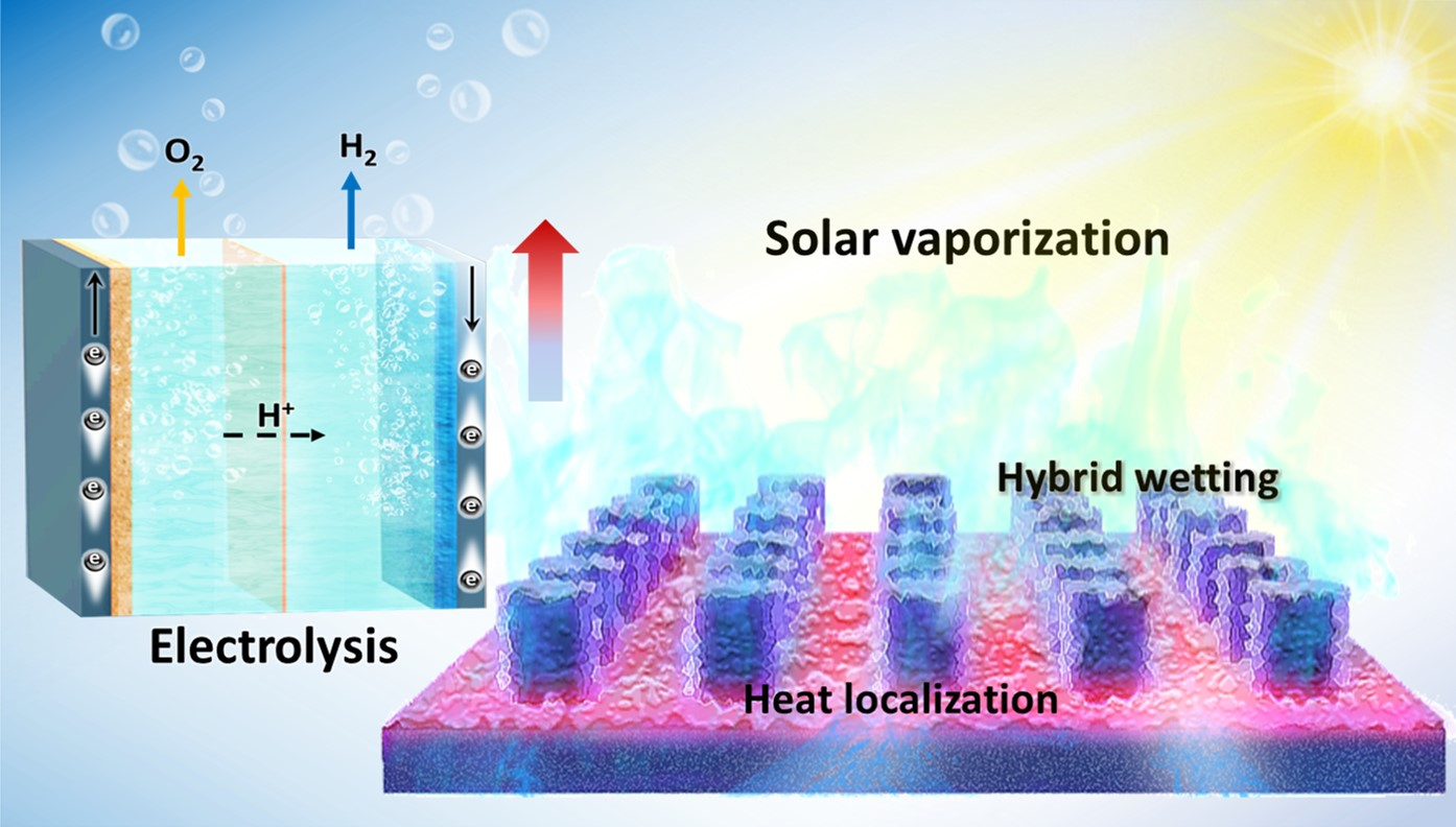 Controlled heterogeneous water distribution and evaporation towards enhanced photothermal water-electricity-hydrogen production
